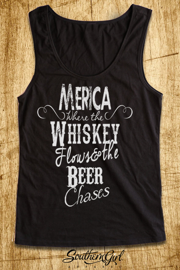 Merica Where the Whiskey Flows and the Beer Chases Scoop Neck, Full Back Tank Top - Southern Girl Apparel® - southerngirlapparel.com