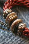 Metal Bead and Leather Bracelet - Southern Girl