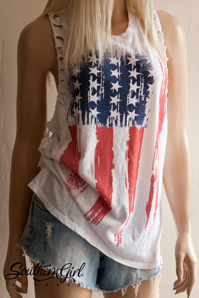 American Flag Braided Racerback Tank Top - Limited Edition - Southern Girl