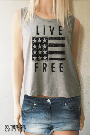 Live Free American Flag Crop Muscle Tank Top