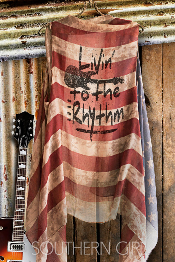 """Livin' to the Rhythm"" Vintage American Flag Vest - Southern Girl"