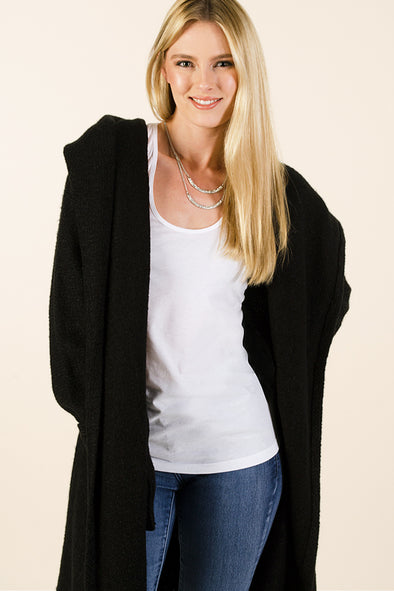 Soft Black long Cardigan Sweater with  Hood