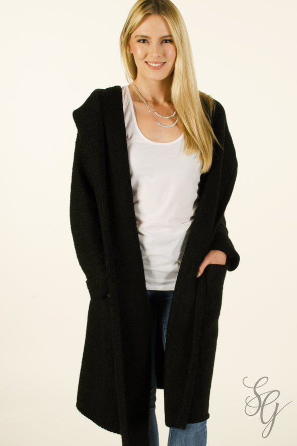 Soft Black long Cardigan Sweater with  Hood Wraps & Jackets - SouthernGirlApparel.com