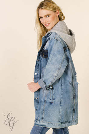 Women's Long Detachable Hooded Denim Jacket Wraps & Jackets - SouthernGirlApparel.com