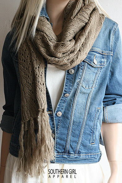 Beige Scarf with Hood scarf - SouthernGirlApparel.com