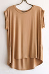 Women's Medium Brown Cap Short Sleeve Top