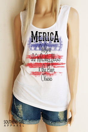 Merica Where the Whiskey Flows with Flag Scoop Neck, Full Back Tank Top - Southern Girl Apparel® - southerngirlapparel.com