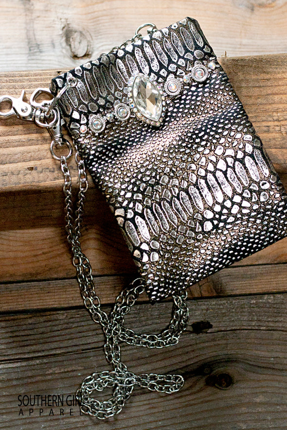 Metallic Silver and Black Faux Leather Mini Crossbody Bag with Rhinestones and Chain Strap