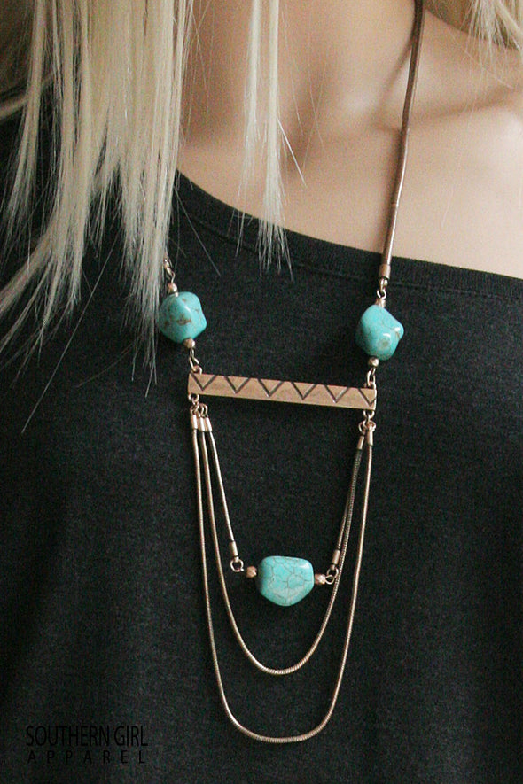Metal and Turquoise Necklace jewelry - SouthernGirlApparel.com