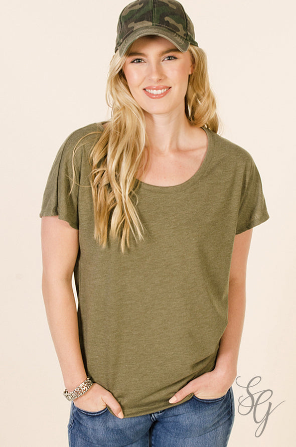 Military Green Dolman Sleeve T Shirt Tees - SouthernGirlApparel.com