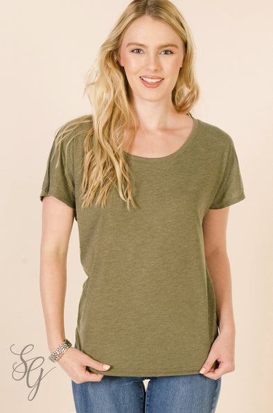 Military Green Dolman Sleeve T Shirt