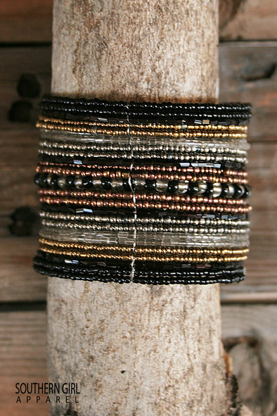 Wide Beaded Wire Multi color Cuff Bracelet jewelry - SouthernGirlApparel.com
