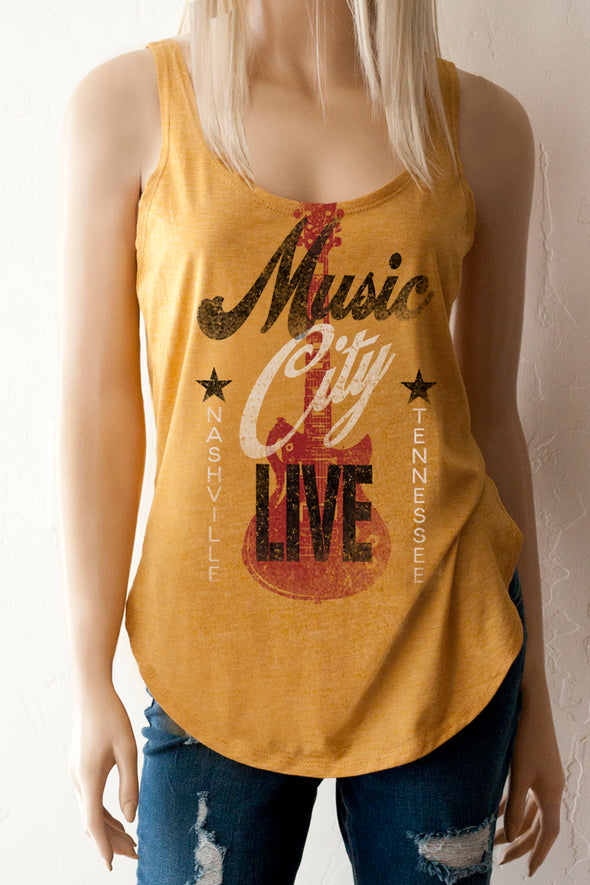 Music City Live Nashville Tennessee Scoop Neck front and back Tank Top -Southern Girl Apparel® - southerngirlapparel.com