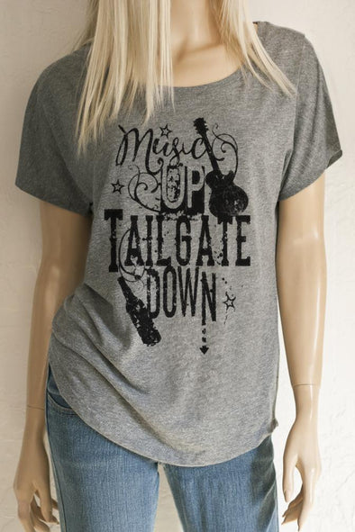 Music Up Tailgate Down Scoop Neck Dolman Sleeve Tri-blend Top T-Shirts - SouthernGirlApparel.com