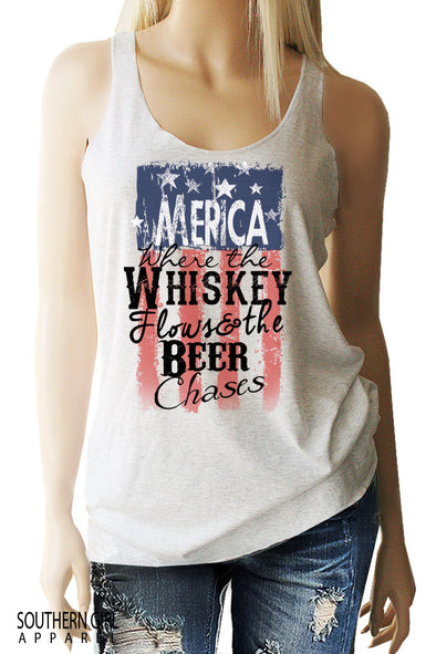 Merica Where the Whiskey Flows and the Beer Chases Racerback Tank Top Tanks - SouthernGirlApparel.com