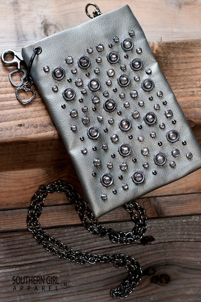 Silver Leatherette Mini Crossbody Bag with Rhinestone Embellishments and Chain Strap - Southern Girl