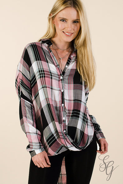 Women's Sweetie Pie Plaid Blouse - Southern Girl