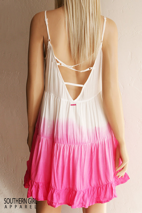 Women's Dip Dyed White to Pink Sundress bare back with adjustable straps - Southern Girl Apparel® - southerngirlapparel.com