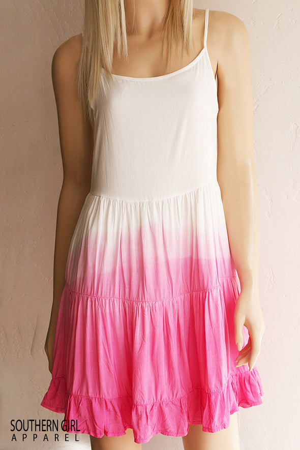 Women's Dip Dyed White to Pink Sundress - Southern Girl