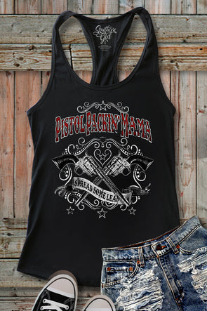 """PISTOL PACKIN' MAMA"" Black Racerback Tank Top graphic tees - SouthernGirlApparel.com"