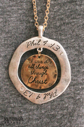 Phillipians 4:13 Necklace jewelry - SouthernGirlApparel.com