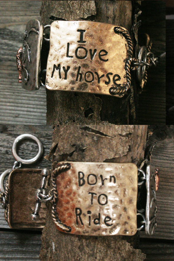 Country Girl Cowgirl Born To Ride Metal Bracelet