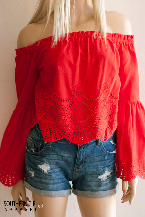 Red Bell Sleeved Off the Shoulder Eyelet Lace Top Tops - SouthernGirlApparel.com