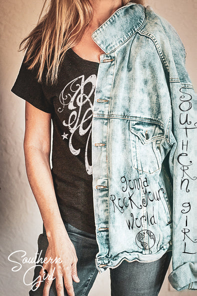 Southern Girl's Gonna Rock Your World Women's Denim Jacket Wraps & Jackets - SouthernGirlApparel.com