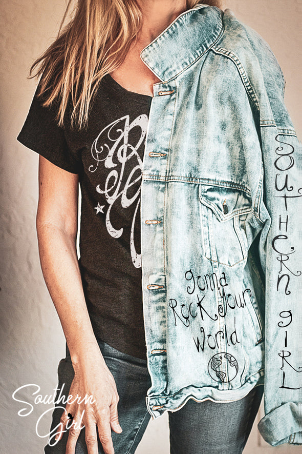 Southern Girl's Gonna Rock Your World Women's Denim Jacket – southerngirlapparel.com - Southern Girl Apparel®