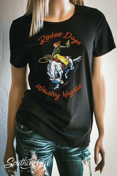 Rodeo Days Whiskey Nights T-Shirt. Available in Black or Heather Grey - Southern Girl Apparel® - southerngirlapparel.com