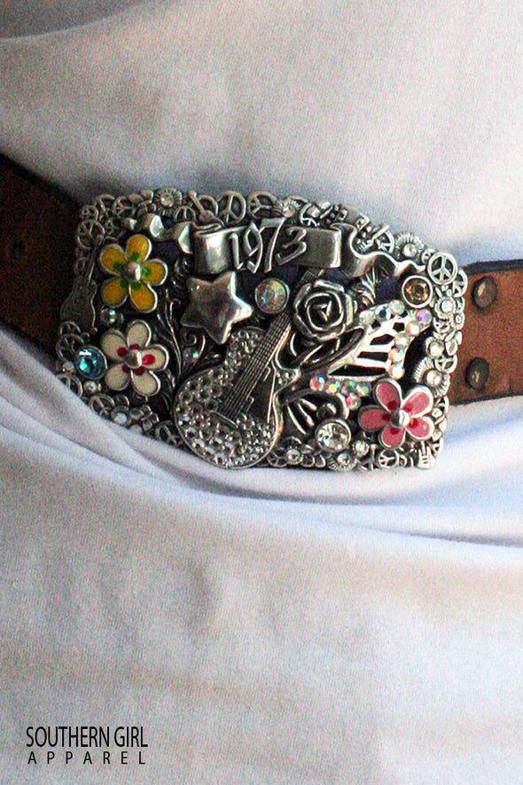 Rodeo Style Rhinestone Belt Buckle - Southern Girl