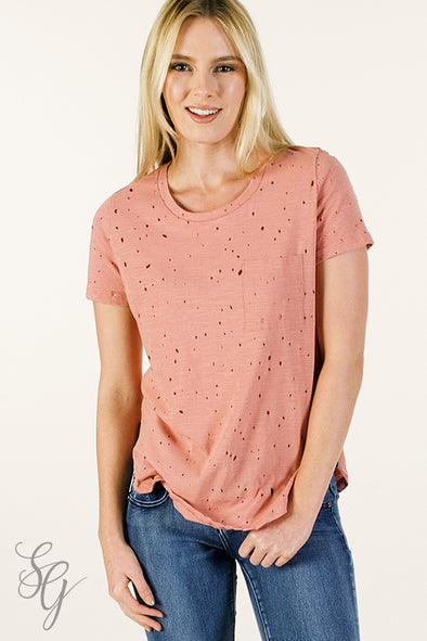 Junior cut distressed Dusty Rose Short Sleeved drilled Tee Tops - SouthernGirlApparel.com