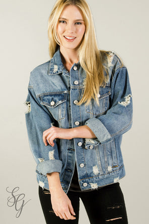 Women's Distressed Shredded Denim Jacket