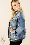 Women's Distressed Shredded Denim Jacket Wraps & Jackets - SouthernGirlApparel.com