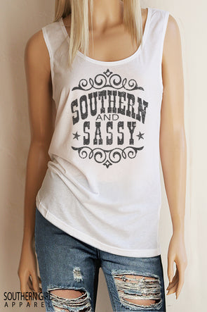 Southern & Sassy Scoop Neck, Full Back Tank Top - Southern Girl