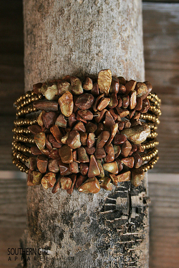 Gold Bead and Brown tone Nugget Wide Beaded Wire Flex Cuff Bracelet jewelry - SouthernGirlApparel.com