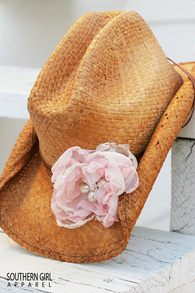STRAW  COWGIRL HAT WITH HAND MADE ROSE WITH VINTAGE JEWELS - Southerngirlapparel.com