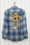 Blue Plaid Flannel with Cowboy Boots and Sunflowers graphic tees - SouthernGirlApparel.com