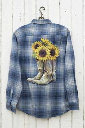 Blue Plaid Flannel with Cowboy Boots and Sunflowers - Southern Girl