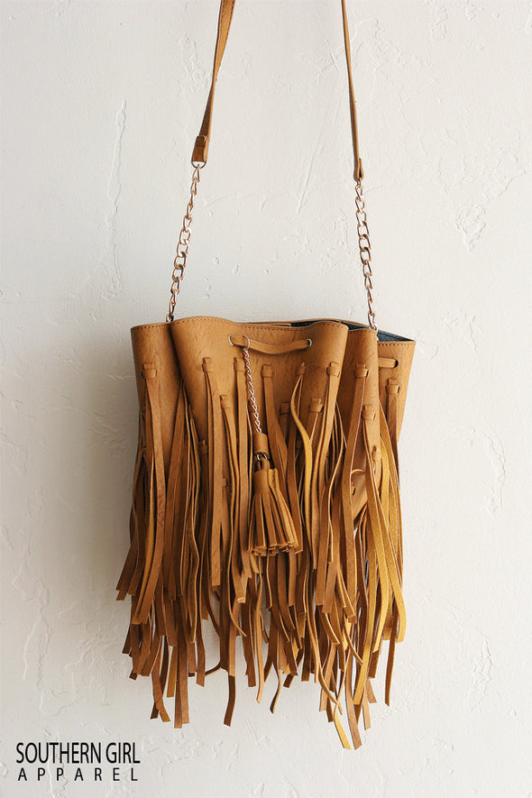 Fringe Faux Leather Bucket Crossbody Bag -Southerngirlapparel