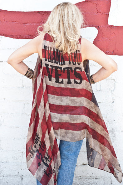 THANK YOU VETS American Flag Vest Wraps & Jackets - SouthernGirlApparel.com