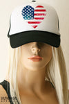 Red White and Blue Heart American Flag Trucker Hat