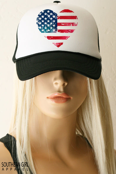 Red White and Blue Heart American Flag Trucker Hat - Southern Girl