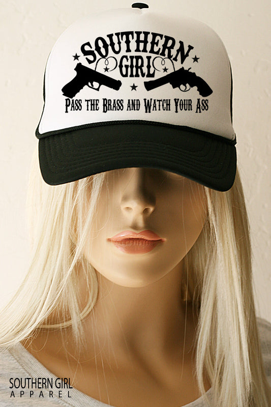 Southern Girl Pistol Trucker Hat - SouthernGirlApparel.com 92692e66eb3