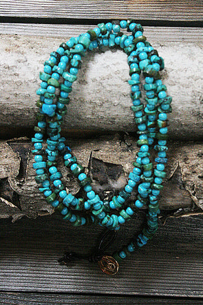 Faux Turquoise Beaded Necklace or Wrap Bracelet - Southern Girl