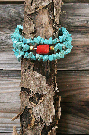 Faux Turquoise Spiral Wrap Bracelet - Southern Girl