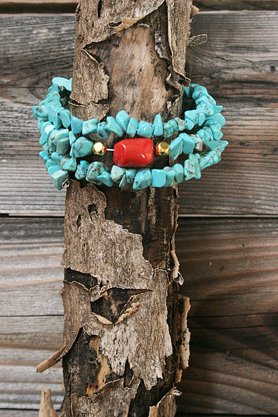 Faux Turquoise Spiral Wrap Bracelet jewelry - SouthernGirlApparel.com