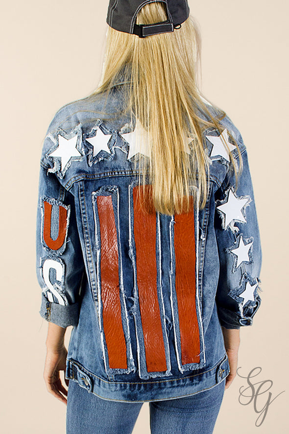 women's Denim Jacket with American Flag applique - Southern Girl Apparel® - southerngirlapparel.com