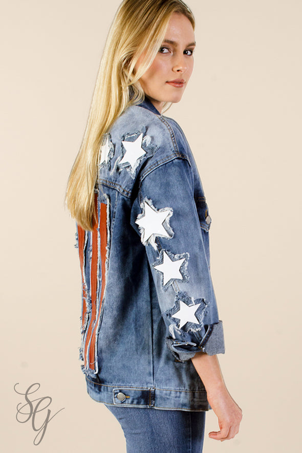 Denim Jacket womens with American Flag applique - Southern Girl Apparel® - southerngirlapparel.com