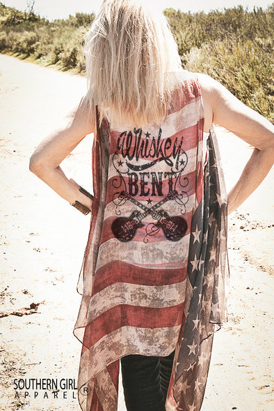 """Whiskey Bent"" Vintage American Flag Vest Wraps & Jackets - SouthernGirlApparel.com"